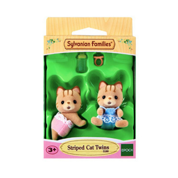 Large sylvanian families 5188 striped cat twins sq