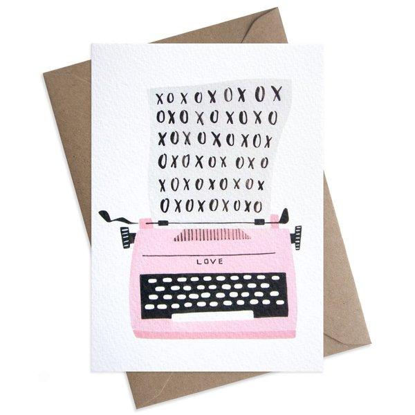 Large xoxo typewriter valentine greeting card