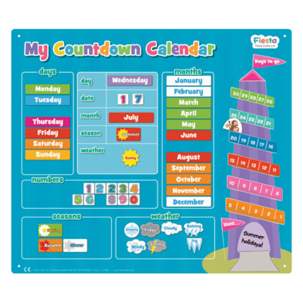 Large fiesta crafts magnetic countdown calander date weather magnets blue advent style