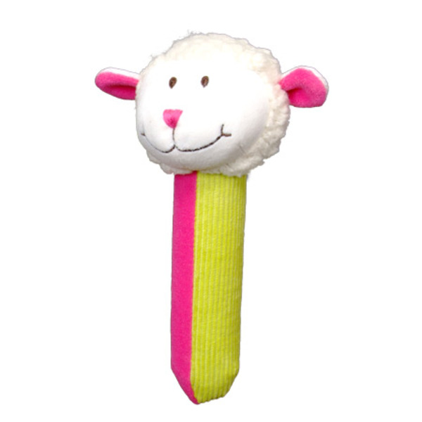 Large fiesta crafts squeakaboo sheep rattle soft toy squeaker from birth onwards