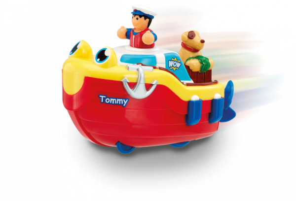 Large tommy tug boat bath toy wind up use in bath and on the floor wow toys preschool plastic safe no batteries toy fun junction toys crieff perth perthshire scotland