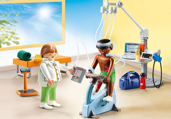 Large playmobil fun junction toy shop perth crieff perthshire scotland play sets imaginative play physical therapist 70195 excercise exercise bike monitoring equipment