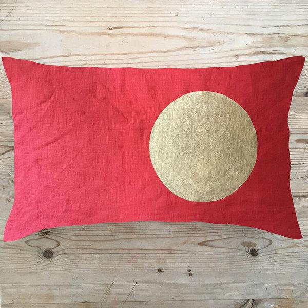 Large tg red circle moon cushion