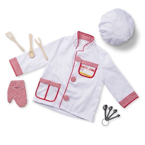 Large melissa doug dress up costume pretend play chef cook tabard hat oven glove measures wooden spoon