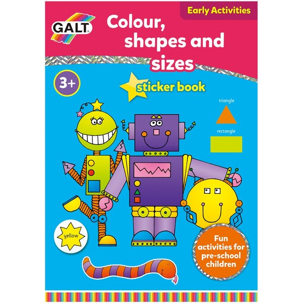 Large galt toys colour shape sizesticker book preschool fine motor fun junction toy shop crieff perth scotland