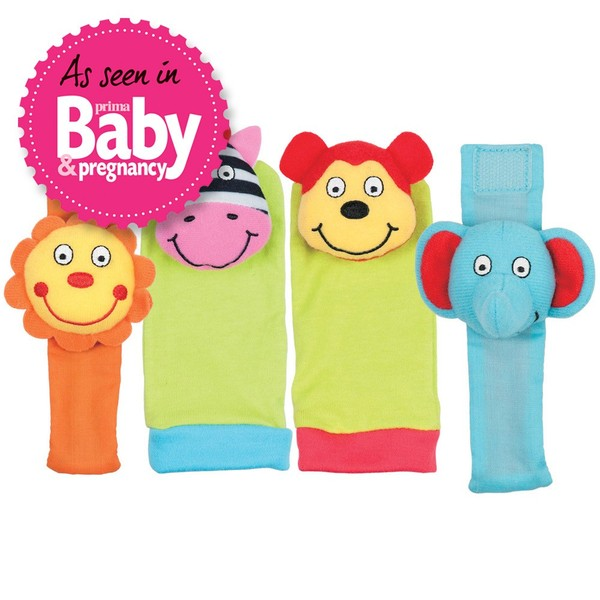 Large first rattle set bands socks wearable rattles for baby babies galt toys soft elephant monkey lion zebra