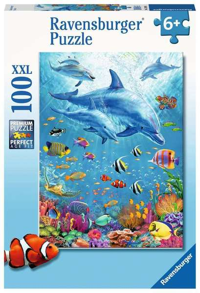 Large ravensburger fun junction toy shop perth crieff perthshire scotland jigsaw puzzle jig saw pod of dolphins 100xxl extra extra large piece pieces