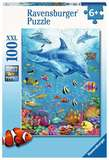 Small ravensburger fun junction toy shop perth crieff perthshire scotland jigsaw puzzle jig saw pod of dolphins 100xxl extra extra large piece pieces