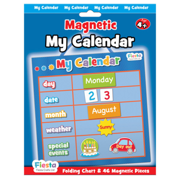 Large fiesta crafts magnetic calander date weather and special event magnets blue