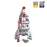 Small rocket ship wooden play set astronauts robots elevator lift pretend play set make believe beleive hape fun junction toy shop crieff perth perthshire scotland