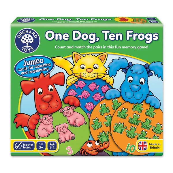 Large orchard toys one dog ten frogs game