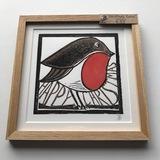 Small jb16   christmas robin framed linocut