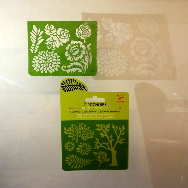 Large djeco pocket money plastic reusable adhesive stencils flowers and plants2