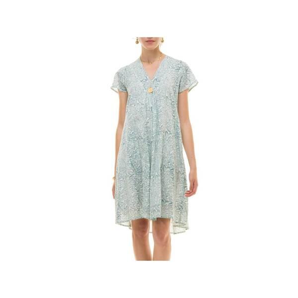 Large robe col v palme 100 coton 3