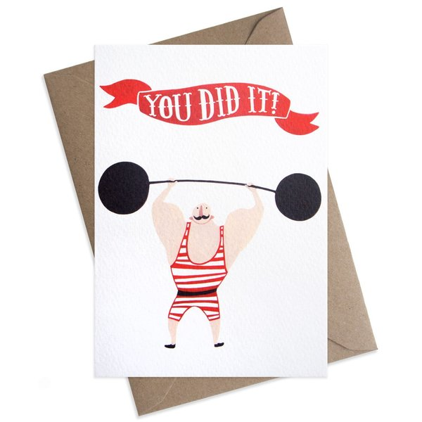 Large circus strongman you did it congrats greeting card