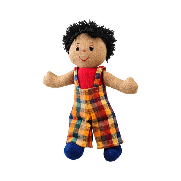 Large rag doll boy brown skin dark hair cotton lanka kade fair trade toy toys natural fun junction toy shop stop store crieff perth perthshire scotland