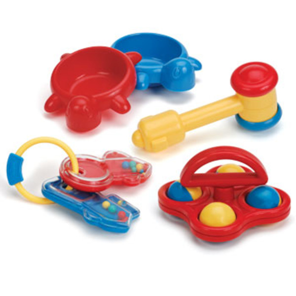 Large battat my first playset box contains two turtle dishes  mallet some rattling keys and rolling rattle toys toy from birth for newborns