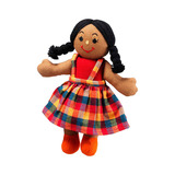 Small rag doll girl brown skin dark black hair cotton lanka kade fair trade toy toys natural fun junction toy shop stop store crieff perth perthshire scotland