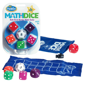 Large thinkfun math dice junior jr game mental mathematics for 6 six and up