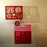 Small djeco pocket money plastic reusable adhesive stencils flowers and hearts