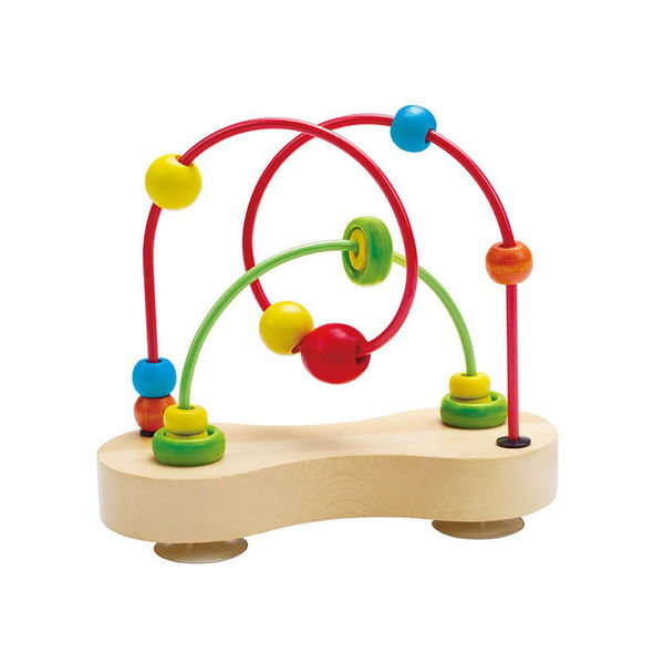 Large wooden and metal bead on rail toy babies toddlers preschool suction cups sucktion sucshon hape fun junction toy shop crieff perth perthshire scotland