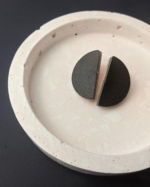 Large km black semi circle stud earrings