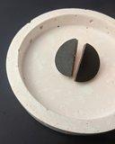Small km black semi circle stud earrings