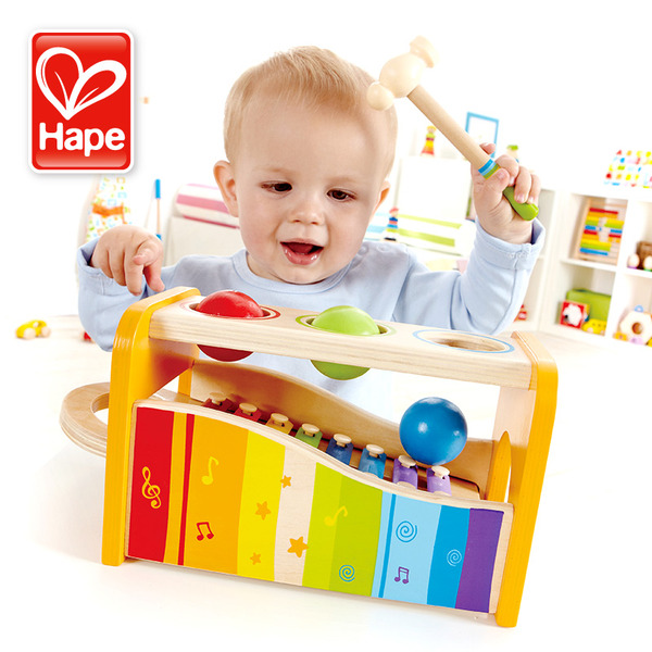 Large hape pound and tap bench wooden xylophone ball balls and hammer for toddler toddlers 1 one year and up