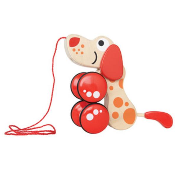 Large walk a long puppy hape pull along toy dog