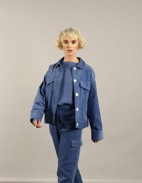 Large nywjk189 gloria jacket blue cord