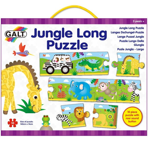 Large galt 10 ten piece long jigsaw puzzle with roaring noise buttton for children aged 3 three years and up
