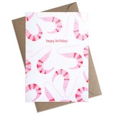 Small shrimp pattern happy birthday greeting card 1024x1024