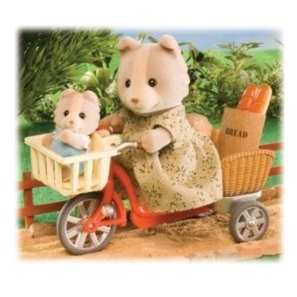 Large sylvanian families 4281 cycling with mother mum mummy bike set with baby and shopping groceries sq