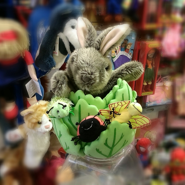 Large rabbit in lettuce puppet company hide away hideaway finger puppets insects