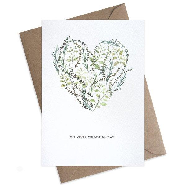 Large on your wedding day botanical heart card