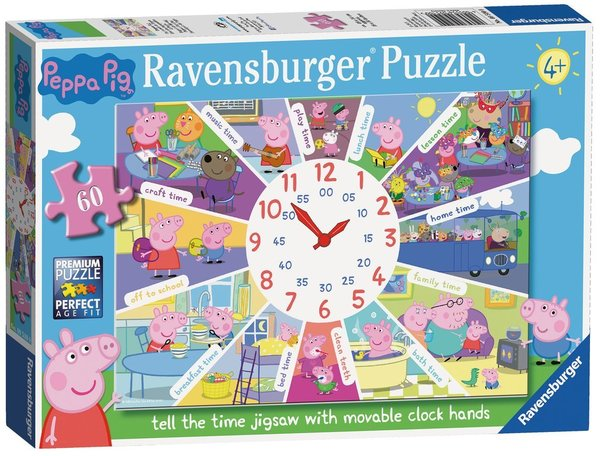 Large ravensburger fun junction toy shop perth crieff perthshire scotland jigsaw puzzle jig saw peppa pig tell the time jigsaw 60pc clock puzzle