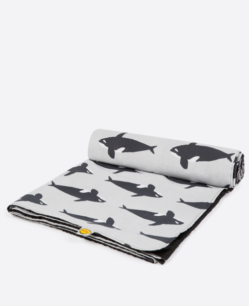 Large anorak orca picnic blanket half rolled