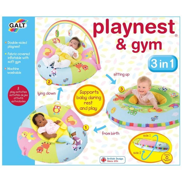 Large fun junction galt 3 in 1 three in one playnest and gym inflatable colapseable back support from birth