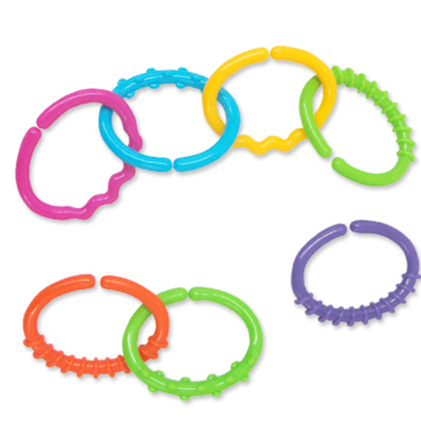 Large linkets plastic rings for baby infants attach toys buggy pram halilit