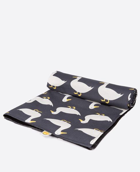 Large anorak waddling ducks picnic blanket unrolling