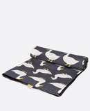 Small anorak waddling ducks picnic blanket unrolling
