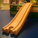 Small ascending tracks wooden railway brio