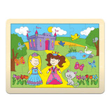 Small fiesta crafts wooden puzzle princess framed wooden backing board