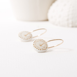 Small 52. porcelain disc earrings   gold dots