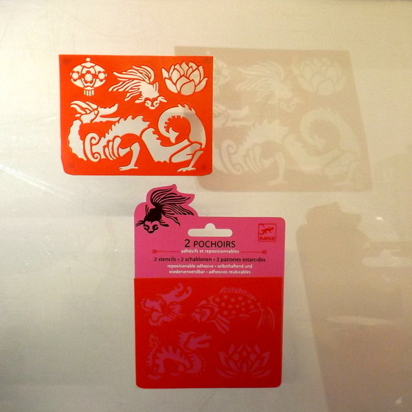 Large djeco pocket money plastic reusable adhesive stencils dragons and oriental imagery2