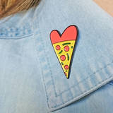 Small original pizza lover enamel pin badge