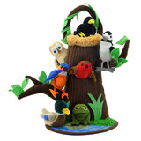 Small fun junction toy shop crieff perth perthshire scotland puppet company co hide away puppet forest forrest creatures animals finger puppets with tree frog duck drake robbin robin woodpecker kingfisher blackbird owl