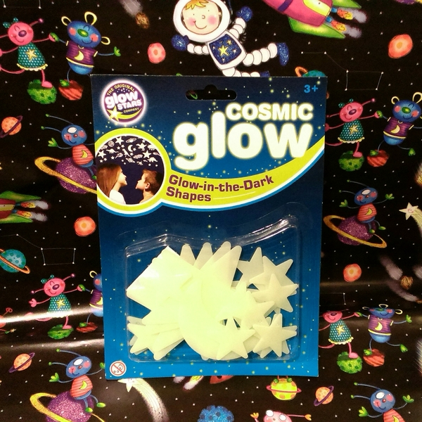 Large glow in the dark shapes plastic stars moon various sizes with sticky dots