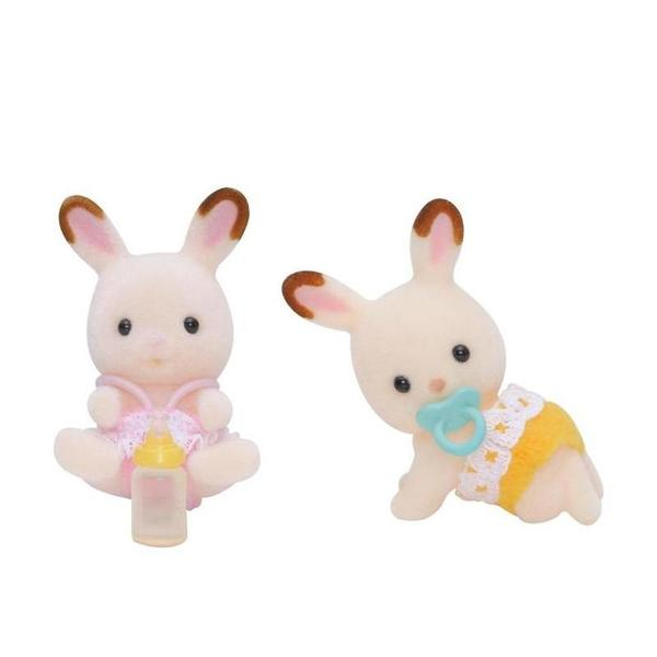 Large sylvanian families chocolate rabbit twin babies epoch sq