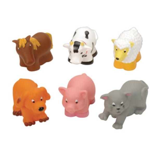 Large battat soft farm animals barnyard farmyard squirty bath toys